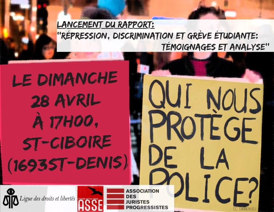 Lancement du rapport «Témoignages de la grève étudiante: répression et discrimination»