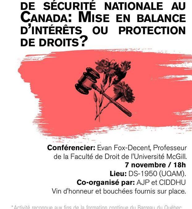 Législation en matière de sécurité nationale au Canada